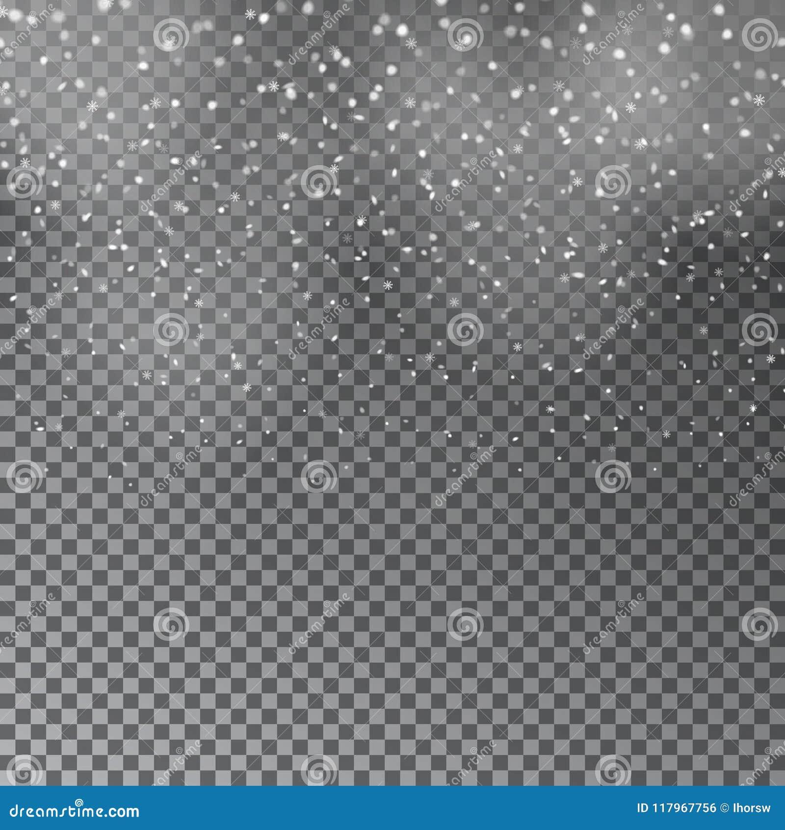 Fallender Weihnachtsglänzender transparenter schöner Schnee lokalisiert auf transparentem Hintergrund Schneeflocken