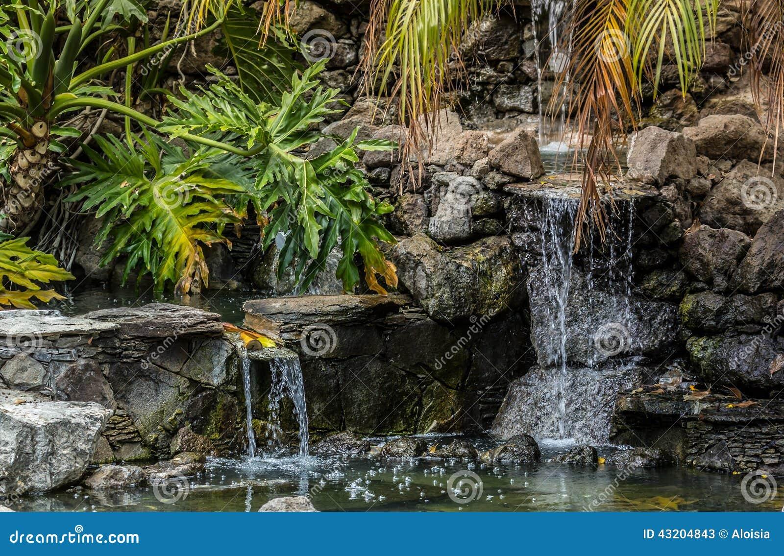 Download Faller litet vatten fotografering för bildbyråer. Bild av palm - 43204843