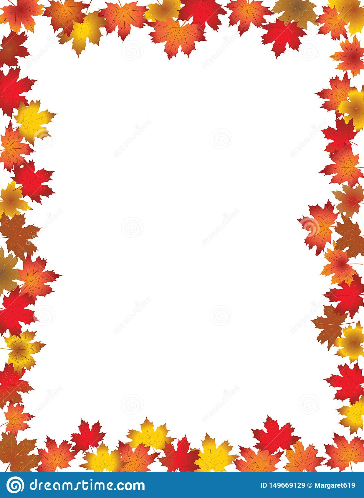 Fall Leaves Border on White Background.