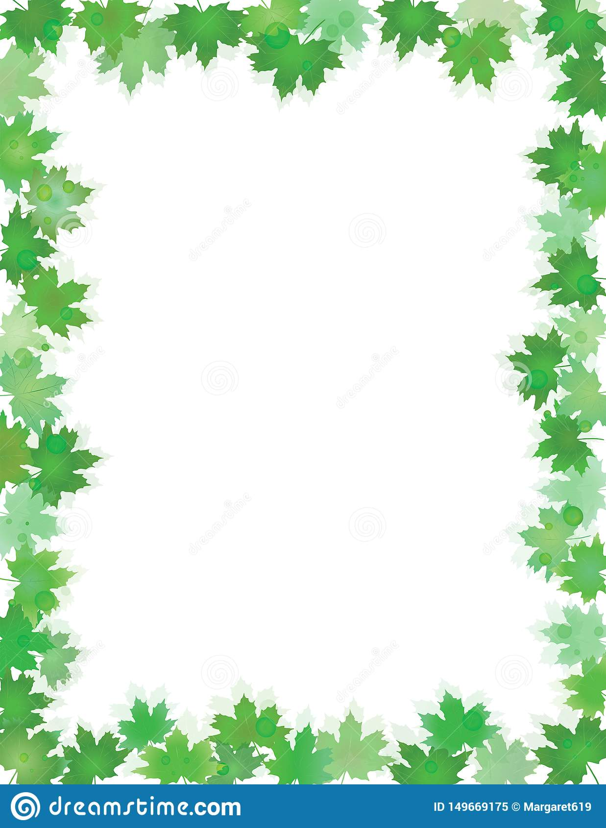 Green leaves border isolated on White with copy space.