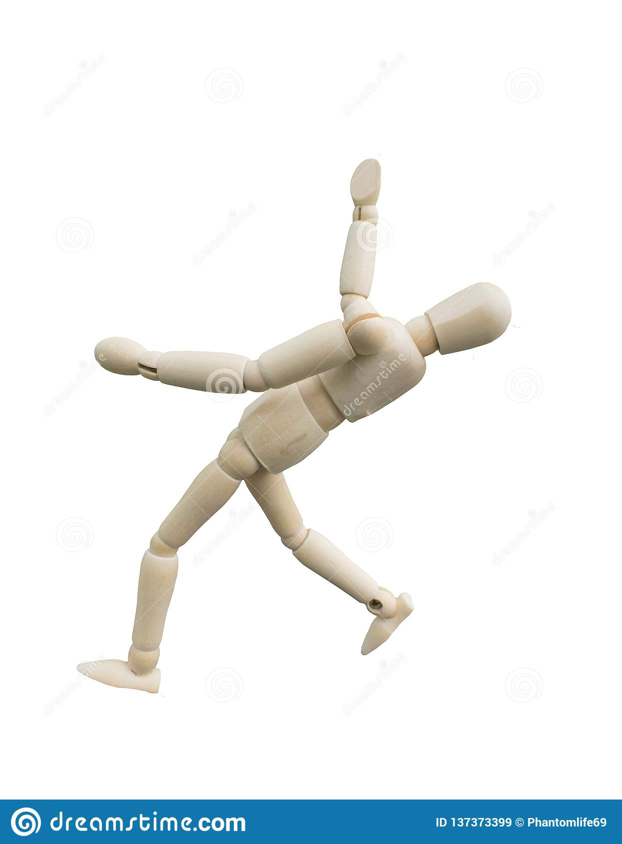 Falling Accident Concept. Wooden Puppet Act Like Slip Down ...