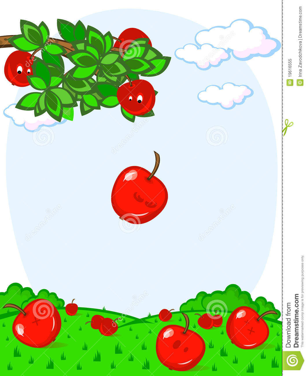 Falling Apples Fun Stock Vector Illustration Of Color