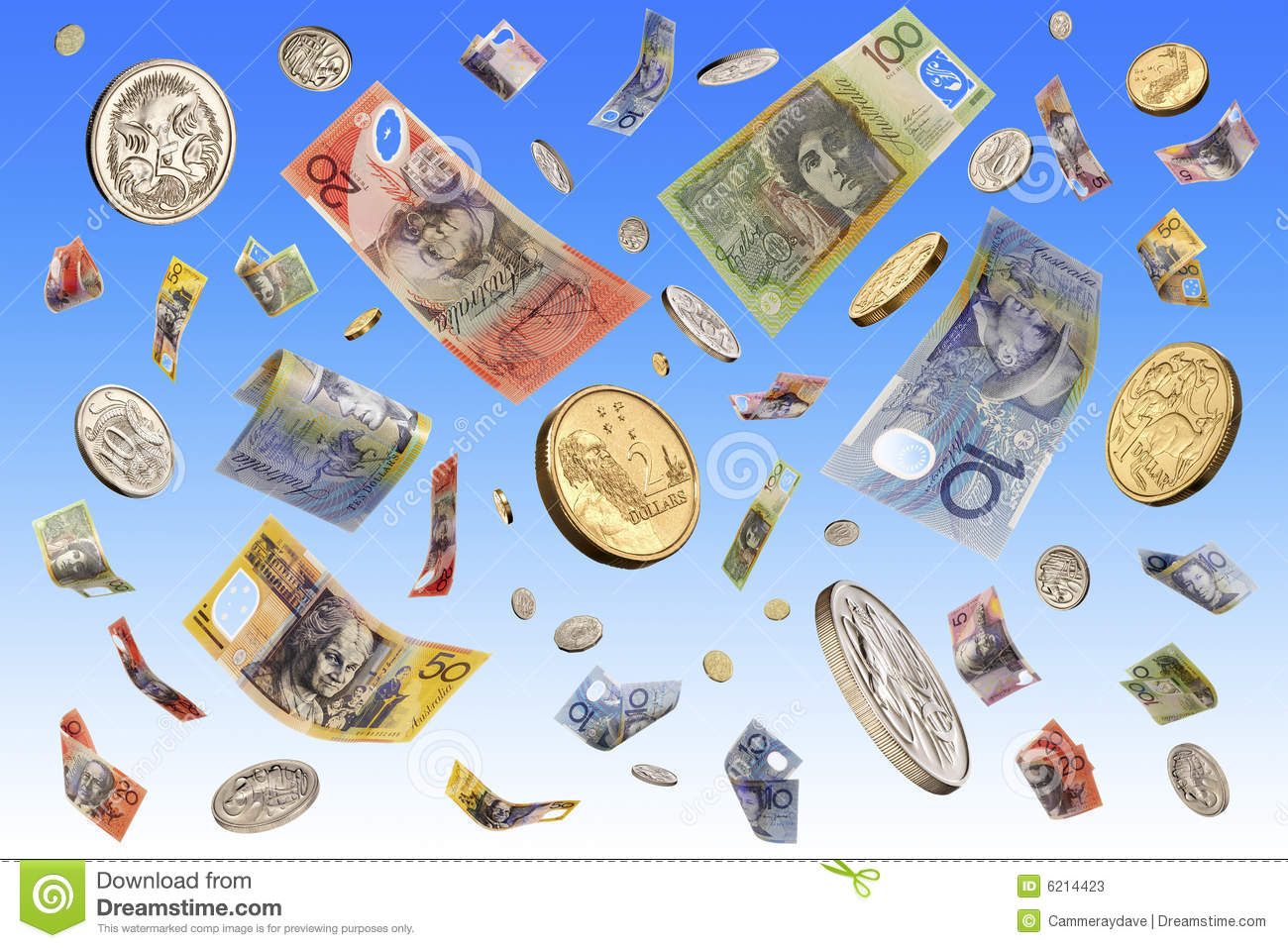 Australian money notes and coins falling through the air.