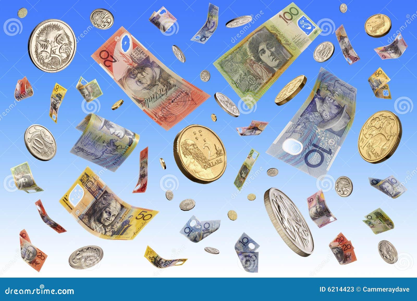 Raining Falling Australian Money Dollars Stock Photography ...