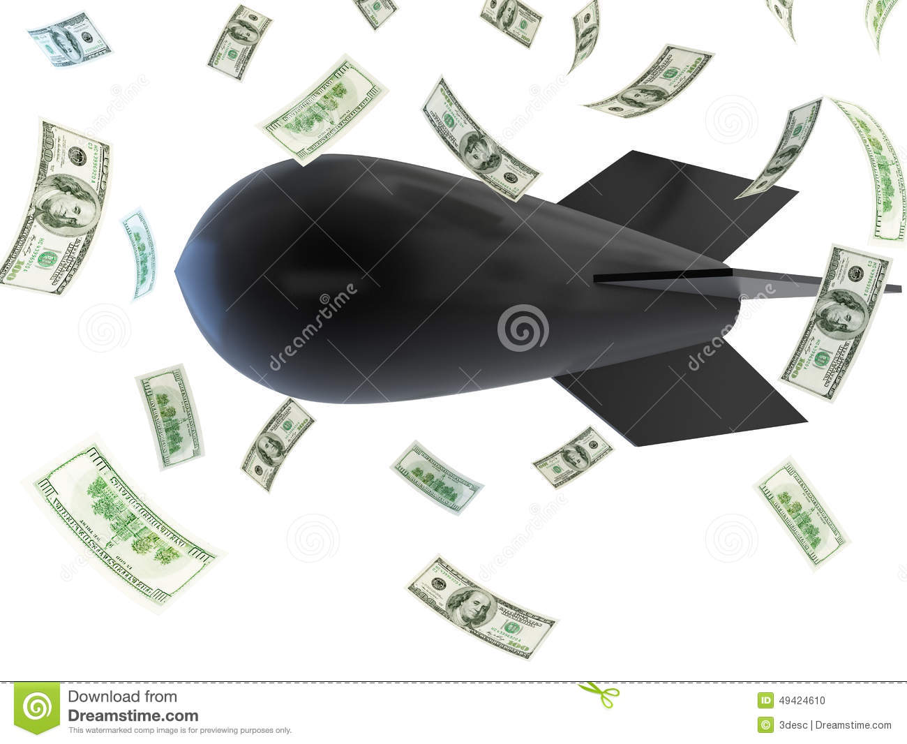 Falling Bombs Falling Dollar Stock Illustration - Image ...