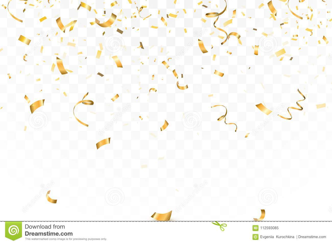 Falling bright Gold Glitter confetti celebration, serpentine isolated on transparent background. New year, birthday