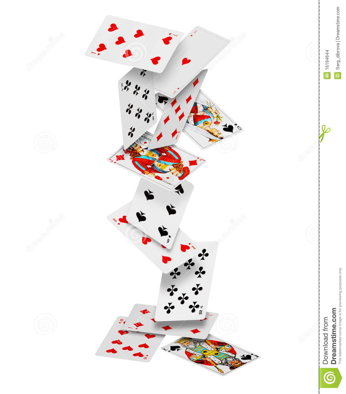 Playing cards falling down on white background.