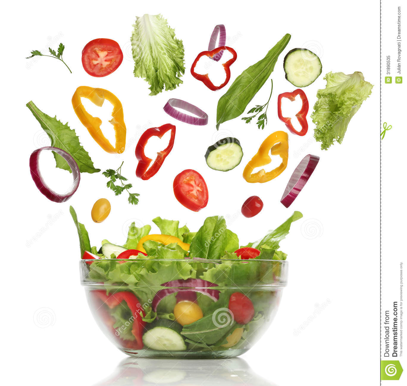 Falling Fresh Vegetables. Healthy Salad Royalty Free Stock Photo ...