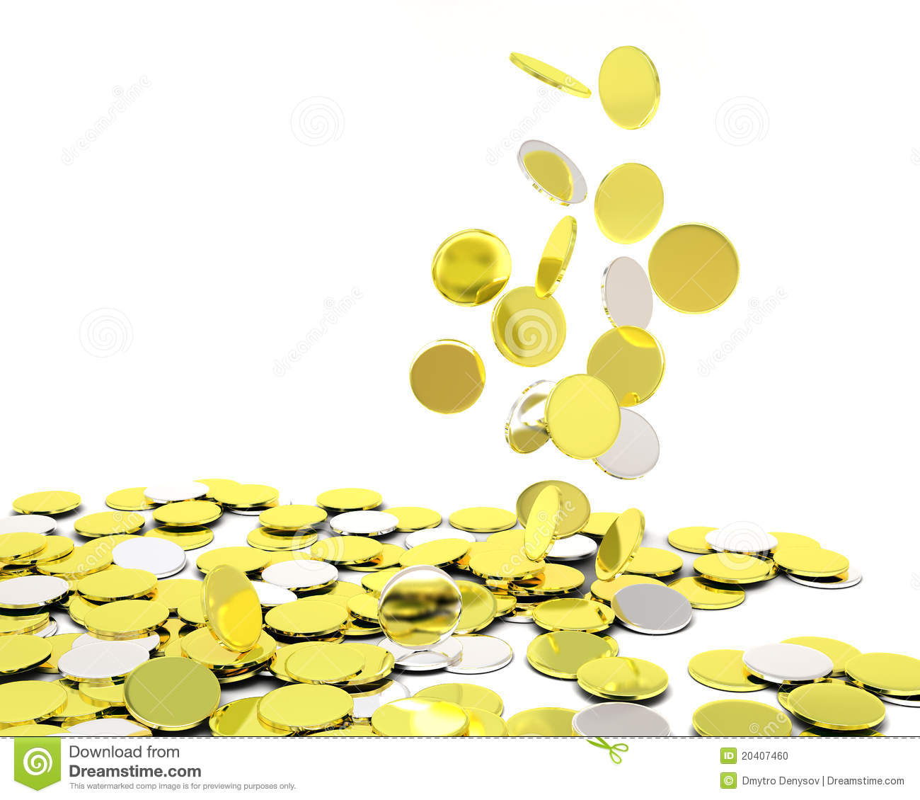 Falling Gold Silver Coins Stock Photo Image 20407460