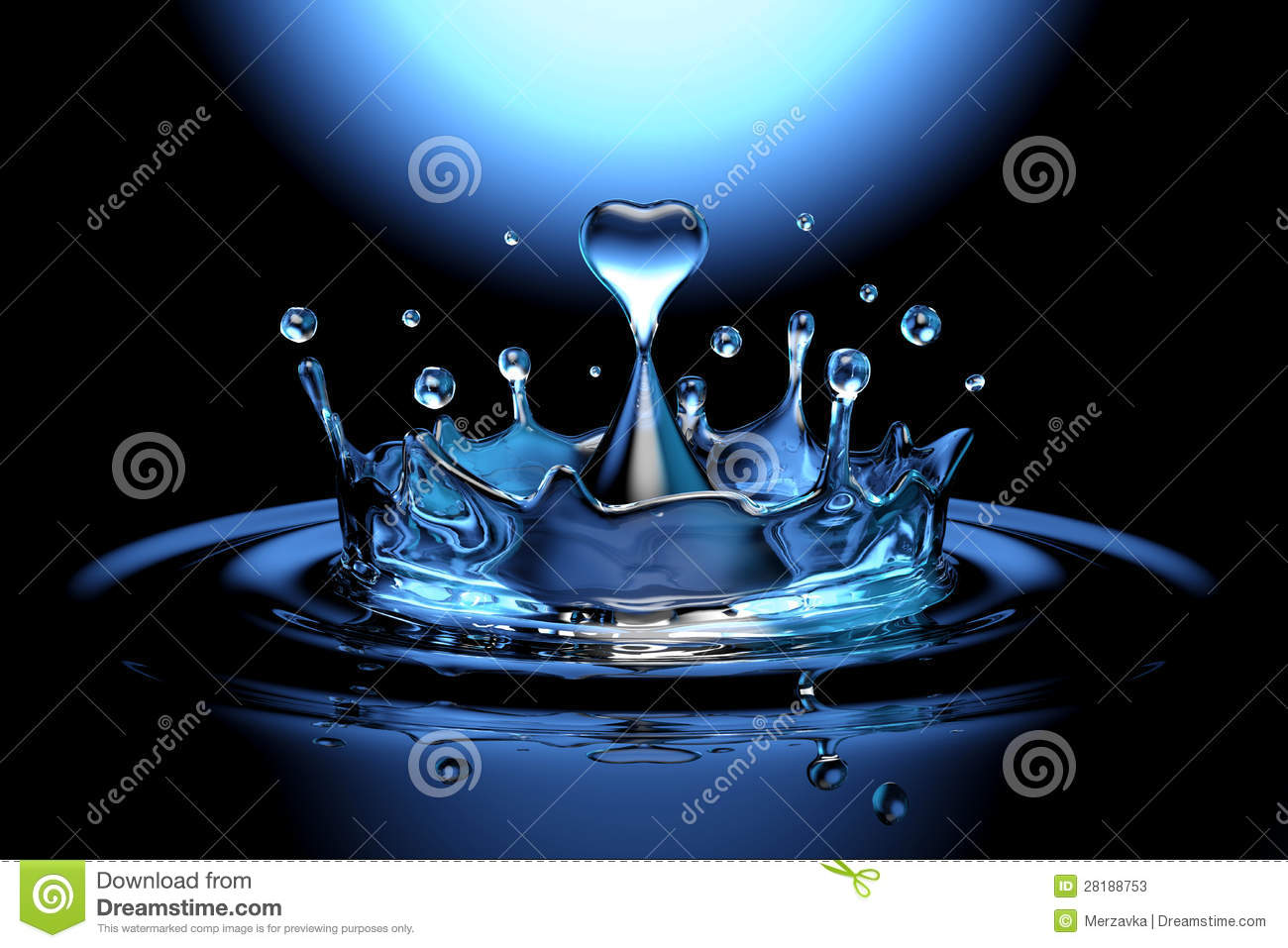 Falling Heart Shaped Water Drop Into The