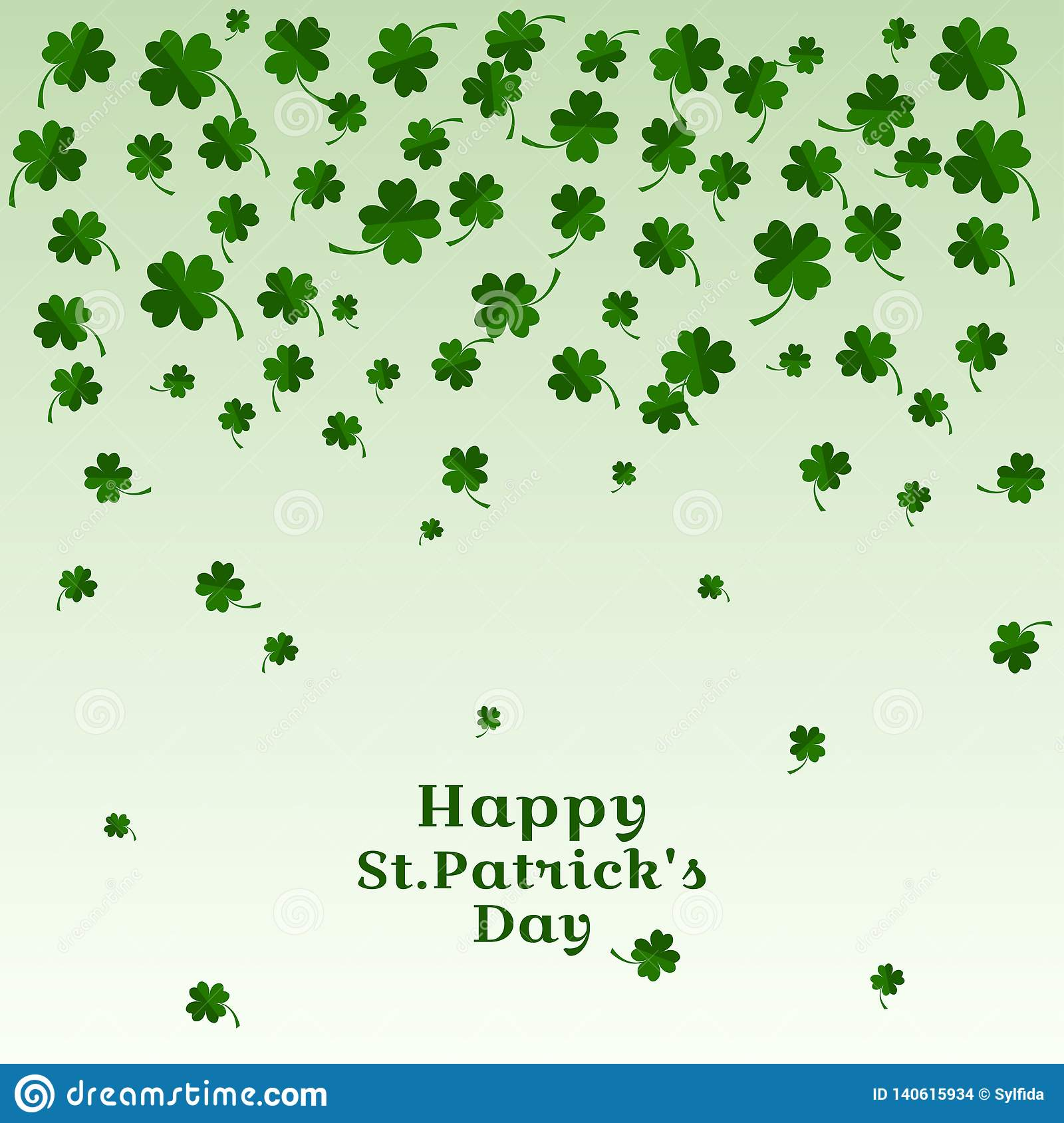Falling leaves of clover with inscription Happy St. Patricks Day. Vector illustration