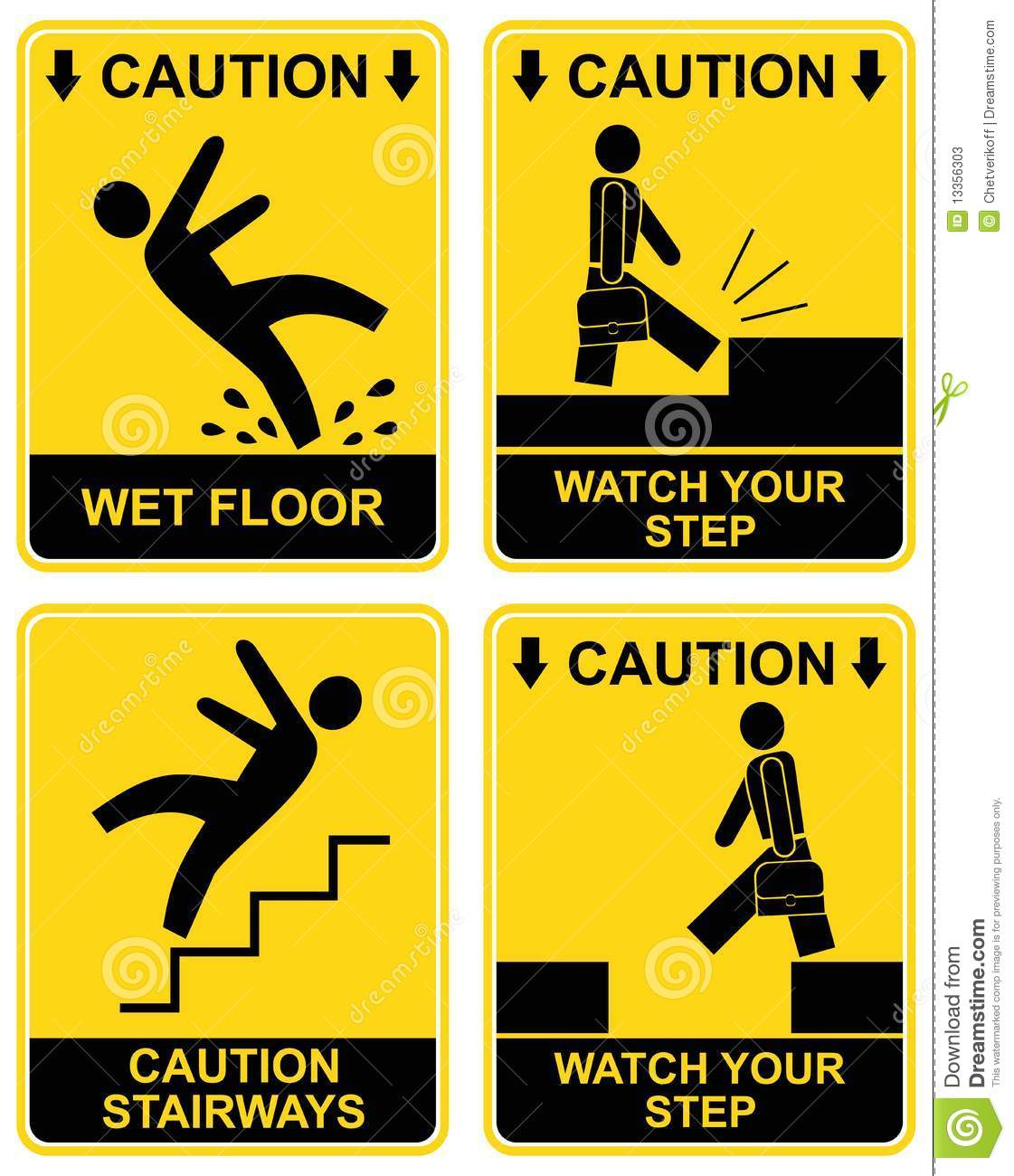 Wet floor, stairways, watch your step - set of caution signs. Yellow ...