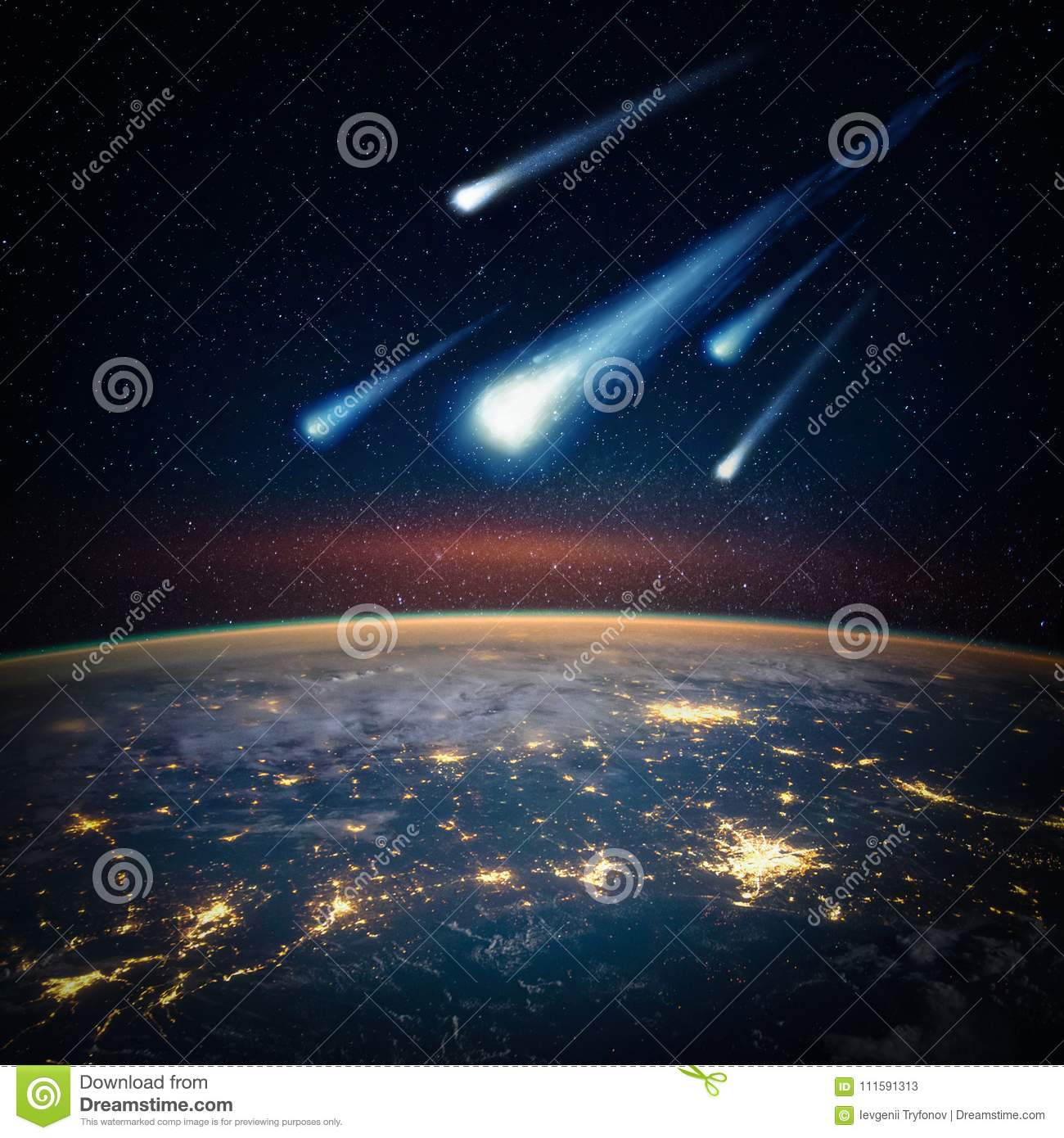 Falling Meteorite, Asteroid, Comet On Earth. Stock Image - Image of ...