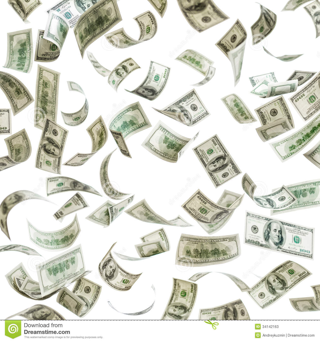 Falling Money, Hundred Dollar Banknotes Stock Photos - Image: 34142163