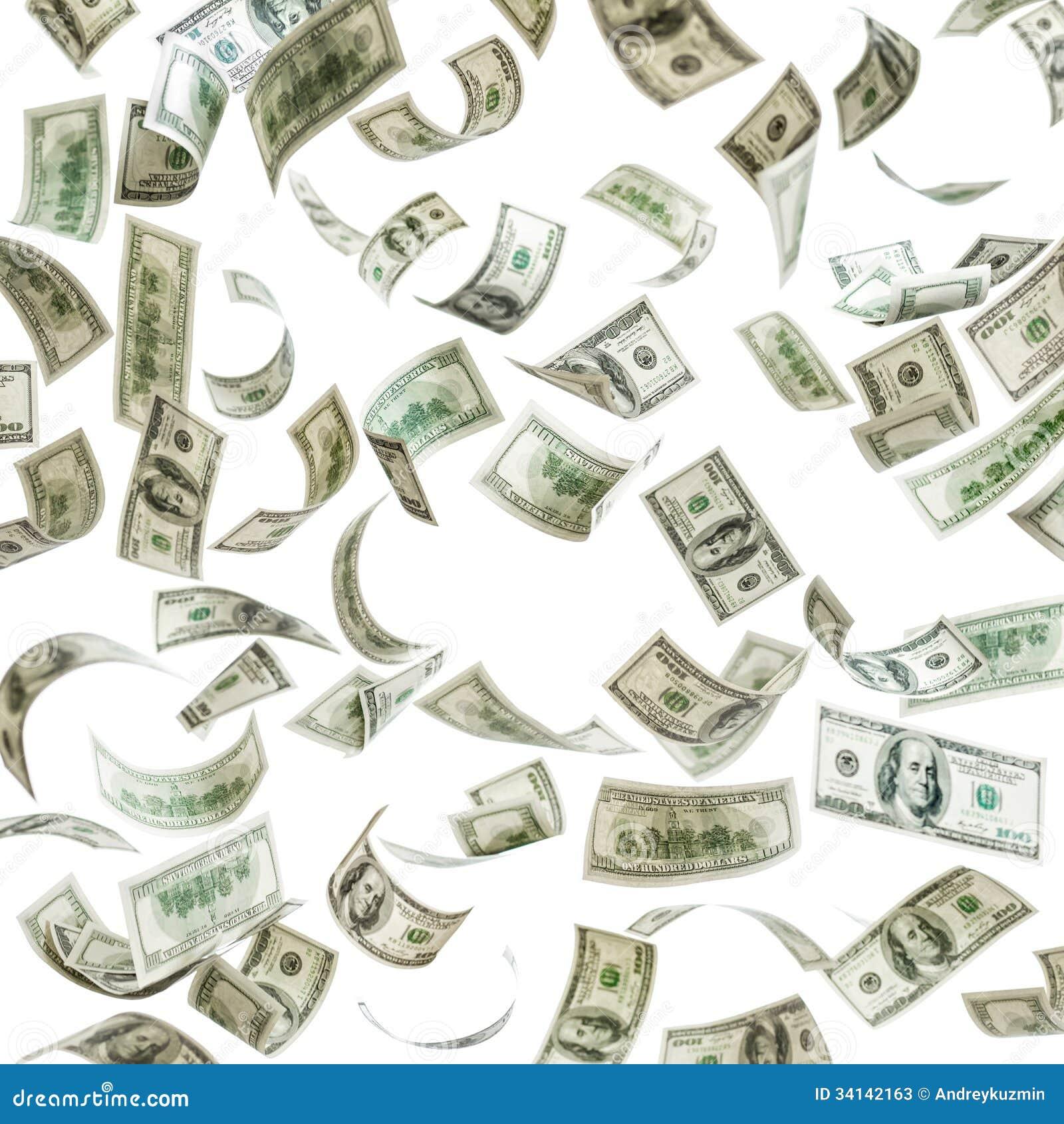 Falling Money Hundred Dollar Banknotes Stock Photos