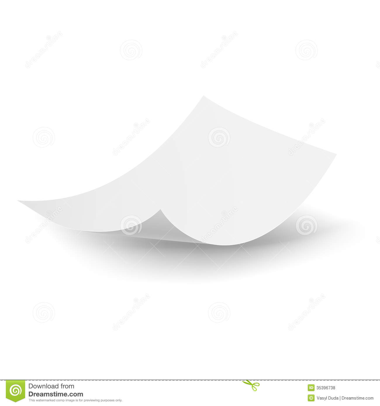 Blank paper sheet falling down. Illustration on white background.
