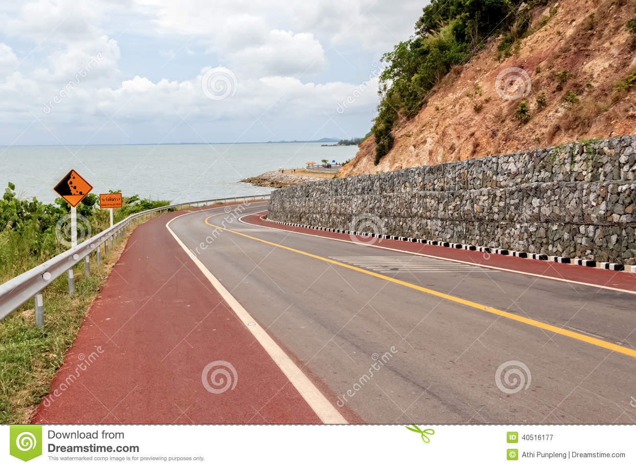 Download Falling Rocks Protection Of Winding Road Stock Image - Image of beware, coastal: 40516177