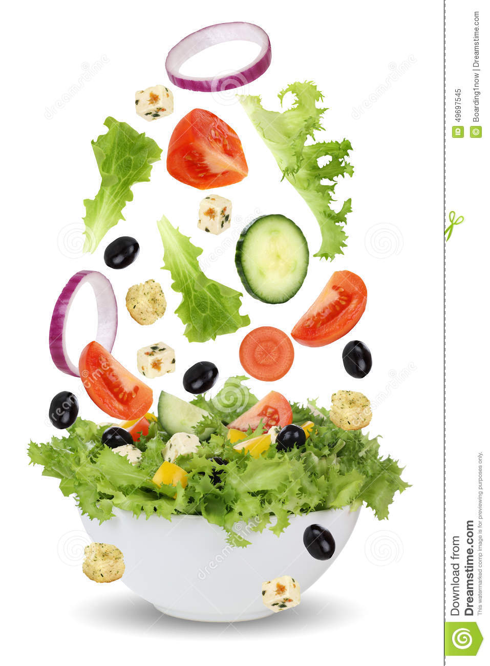 Falling Salad In Bowl With Lettuce Tomatoes Onion And