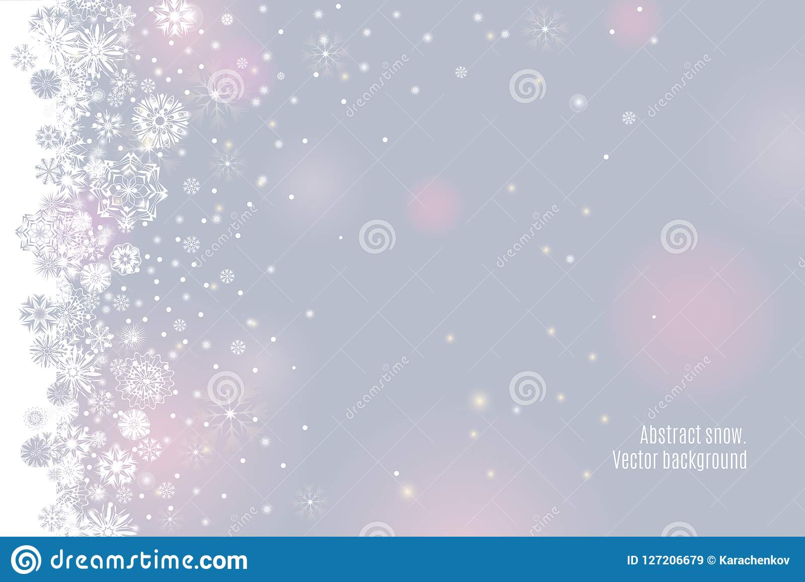 Falling snow border on a light tender silver grey background