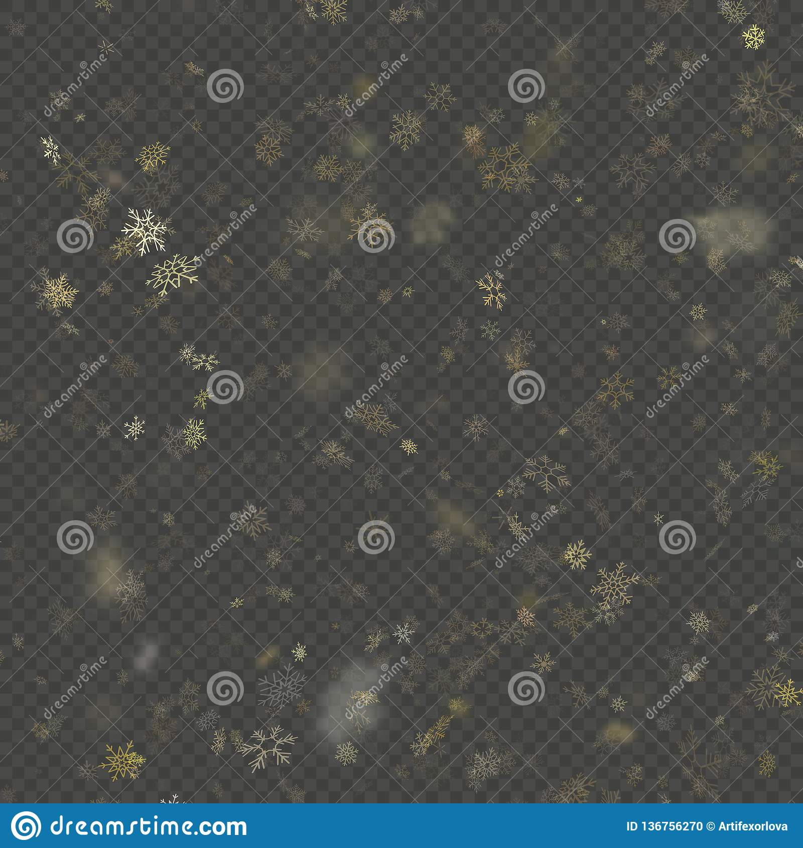 Falling snow flake golden overlay effect teplate isolated on transparent background. EPS 10
