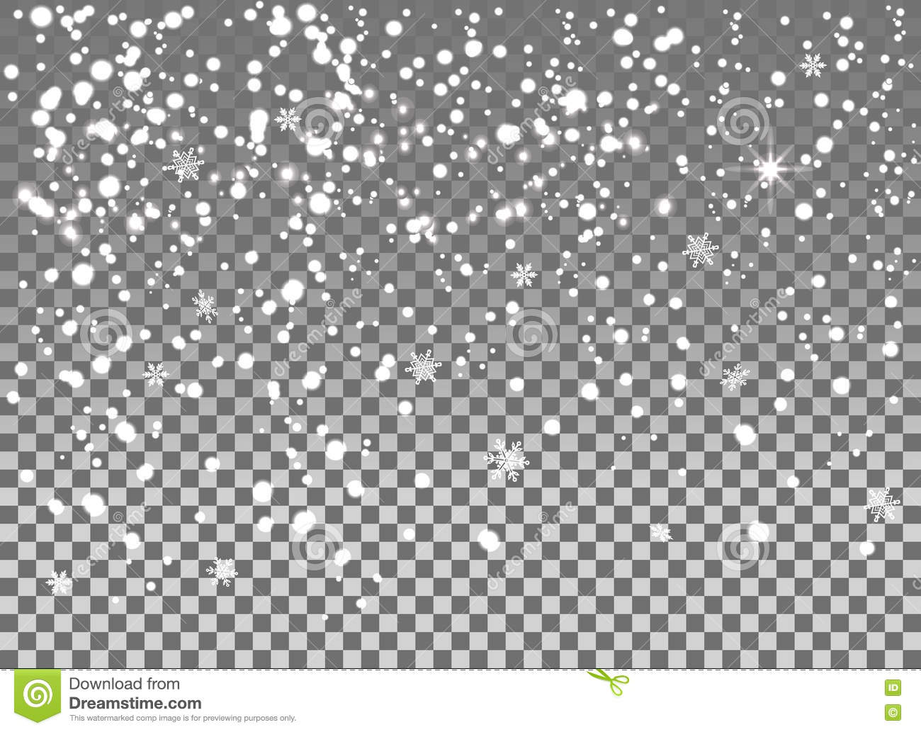 falling snow isolated on the a transparent background stock vector