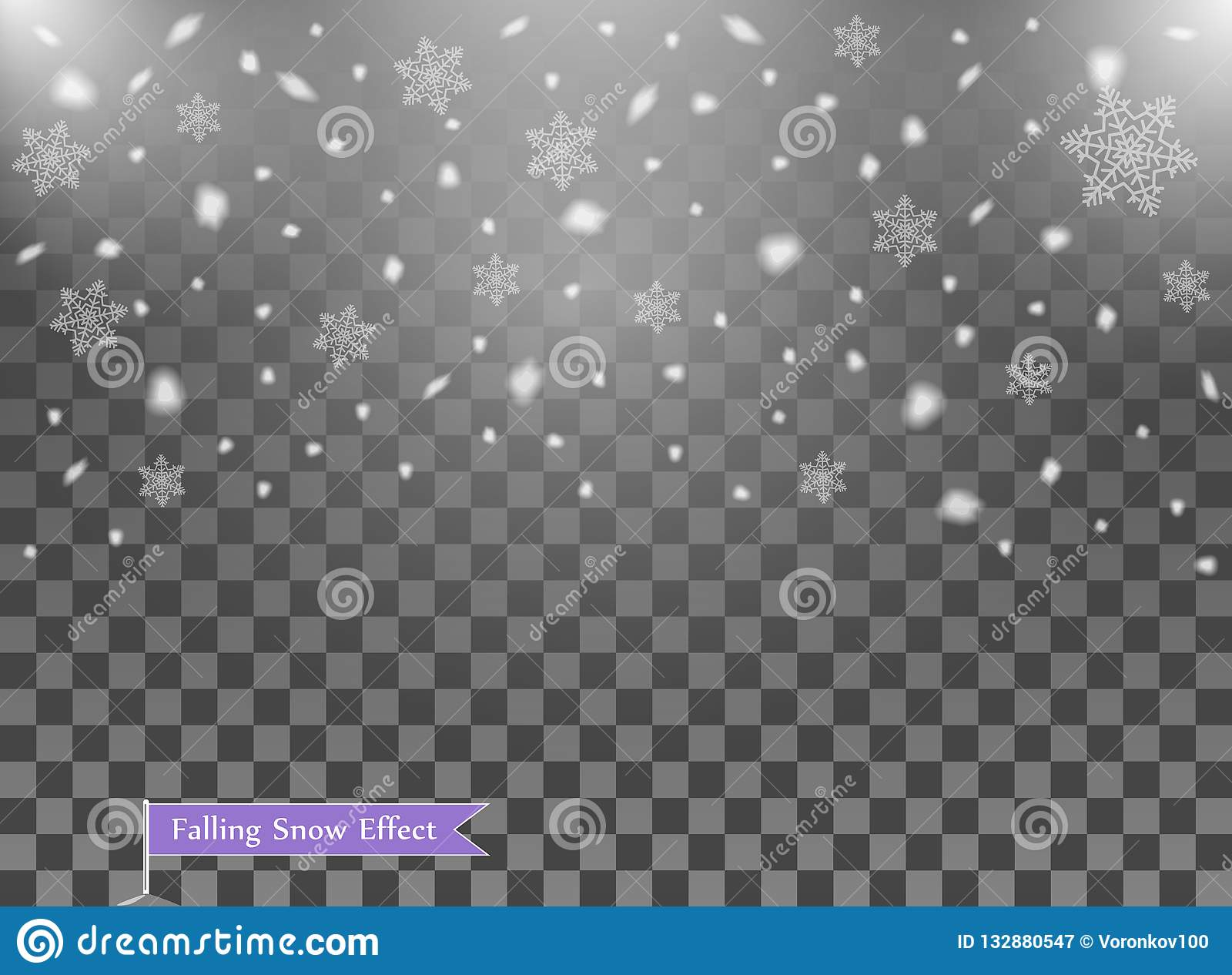Falling snow, random elements. New year, Christmas decor overlay. Vector illustration on isolated transparent background.