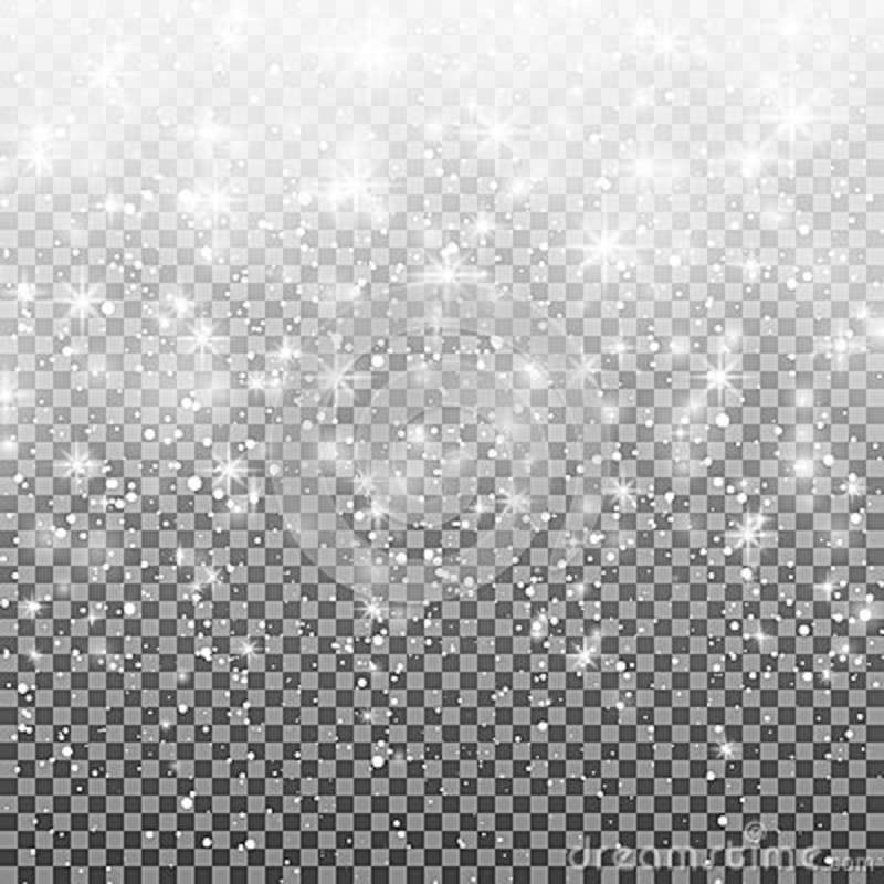 Falling snow on a transparent background. Vector illustration 10 EPS. Abstract white glitter snowflake background