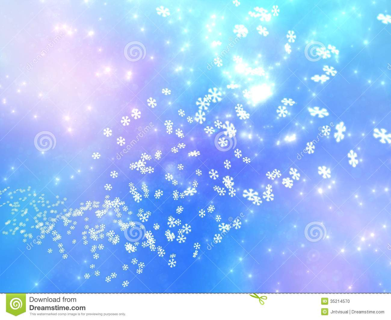 Falling Snowflakes On A Pink And Blue Background Stock
