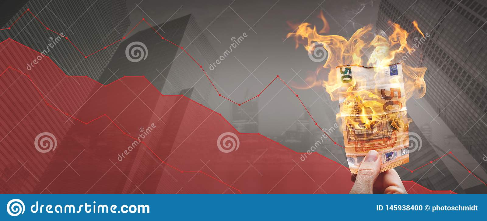 Falling stock prices – burning 50€ banknote in front of a declining graph