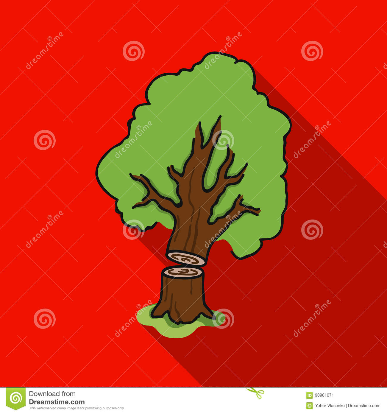 Falling Tree Icon In Flat Style On White Background Sawmill And