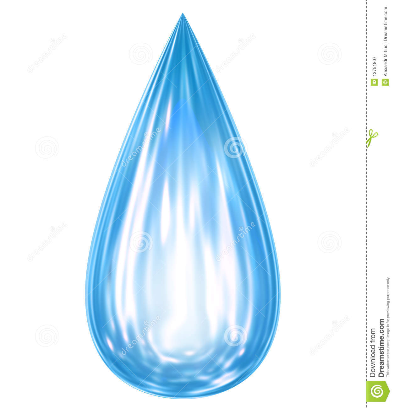 Falling Water Drop With Reflections Stock Illustration