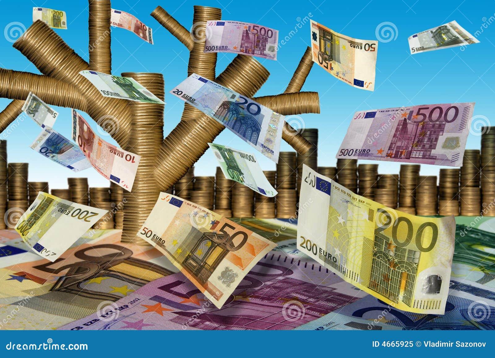 Falls euro liście