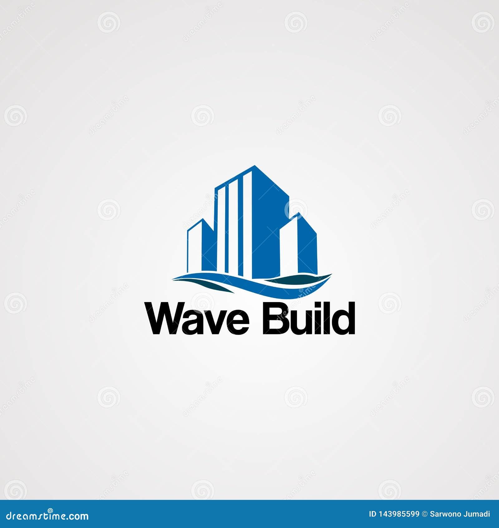 Falowego budynku logo prosty, nowożytni i czyści szablon dla biznesu wektorowy pojęcie, element i ikona,