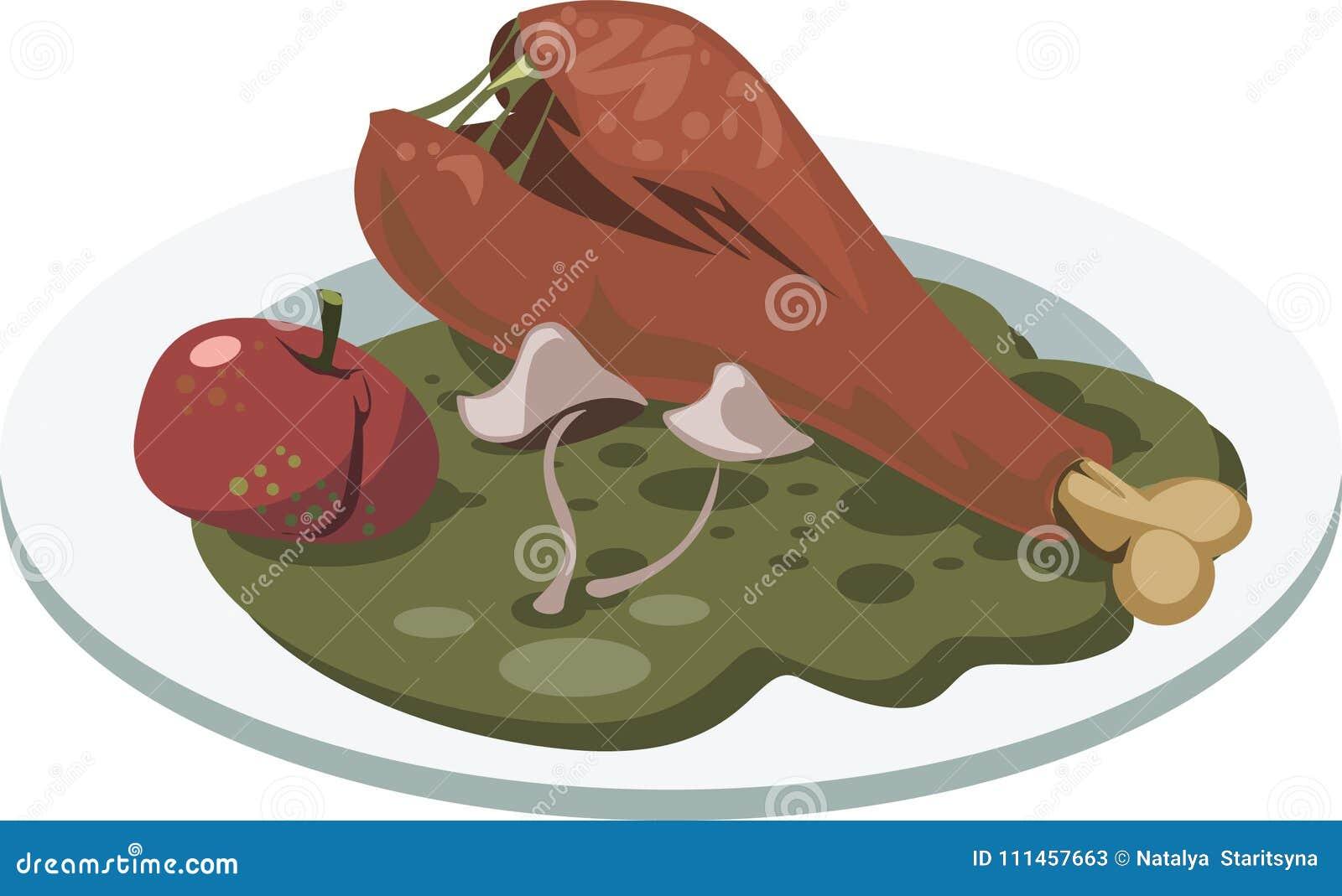 Falsche Nahrung Platte mit faulem Huhn-` s Bein, Apfel und Pilzen