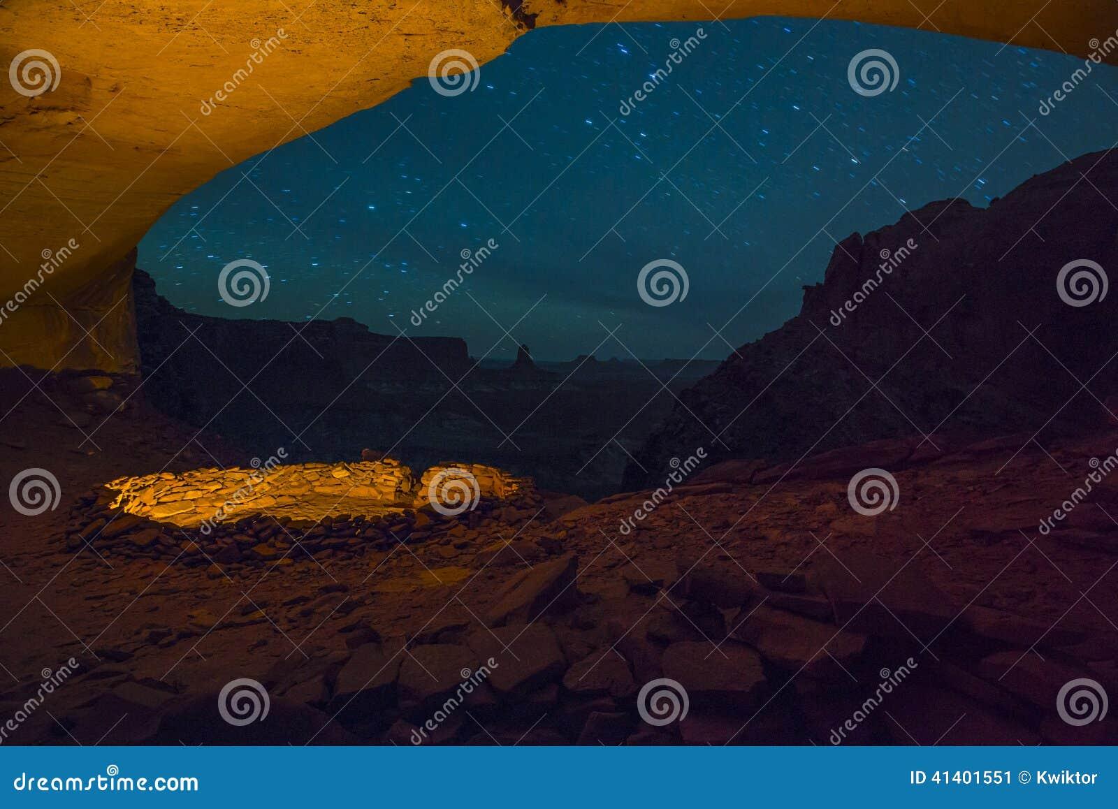 False Kiva at Night with starry sky