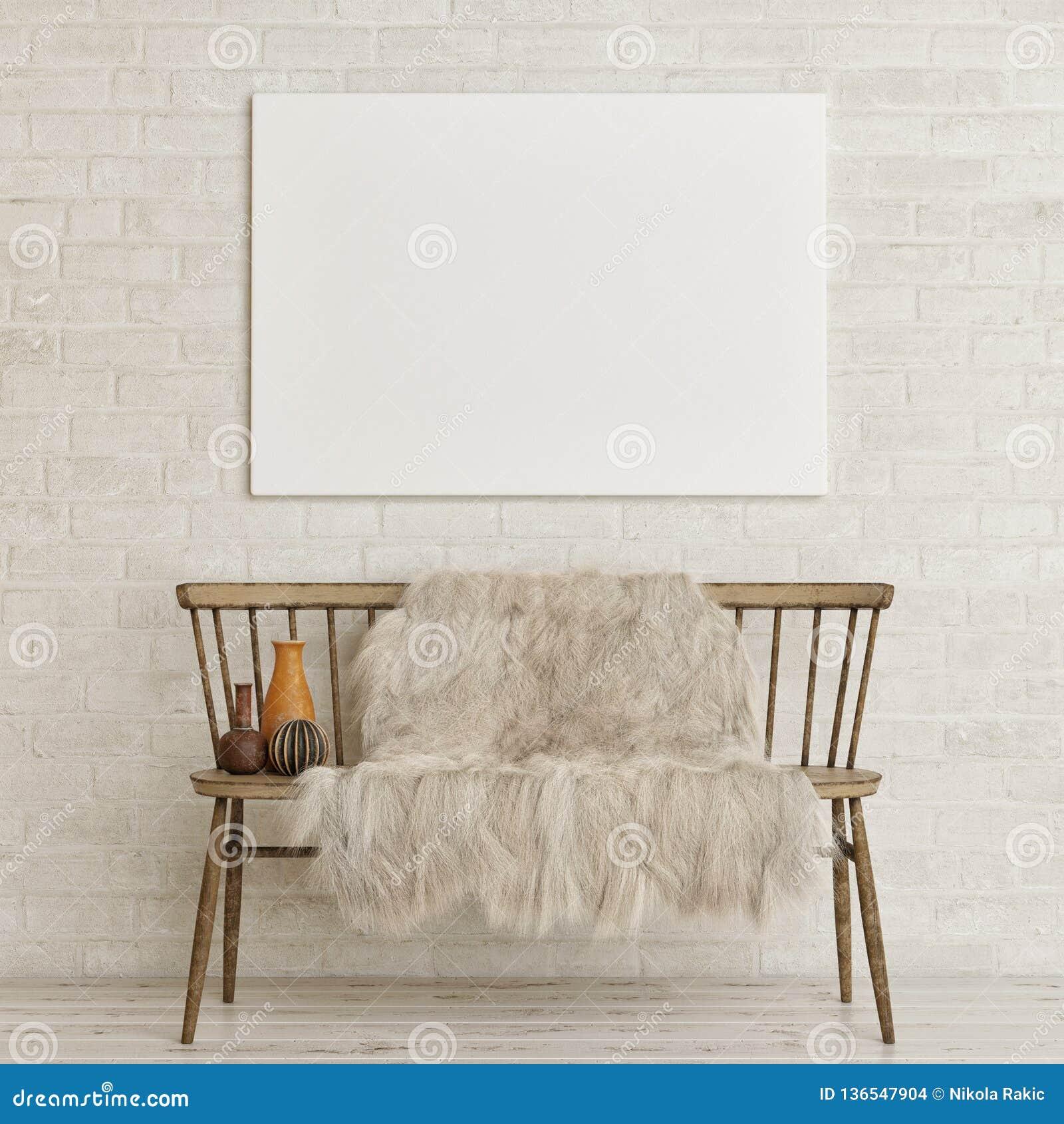 Falsk övre affisch på den vita tegelstenväggen med den gammal bänken och garnering