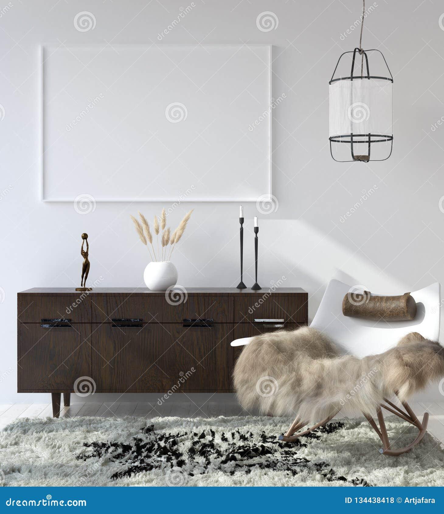 Falsk övre affischram i hemmiljöbakgrund, bohemisk stilvardagsrum