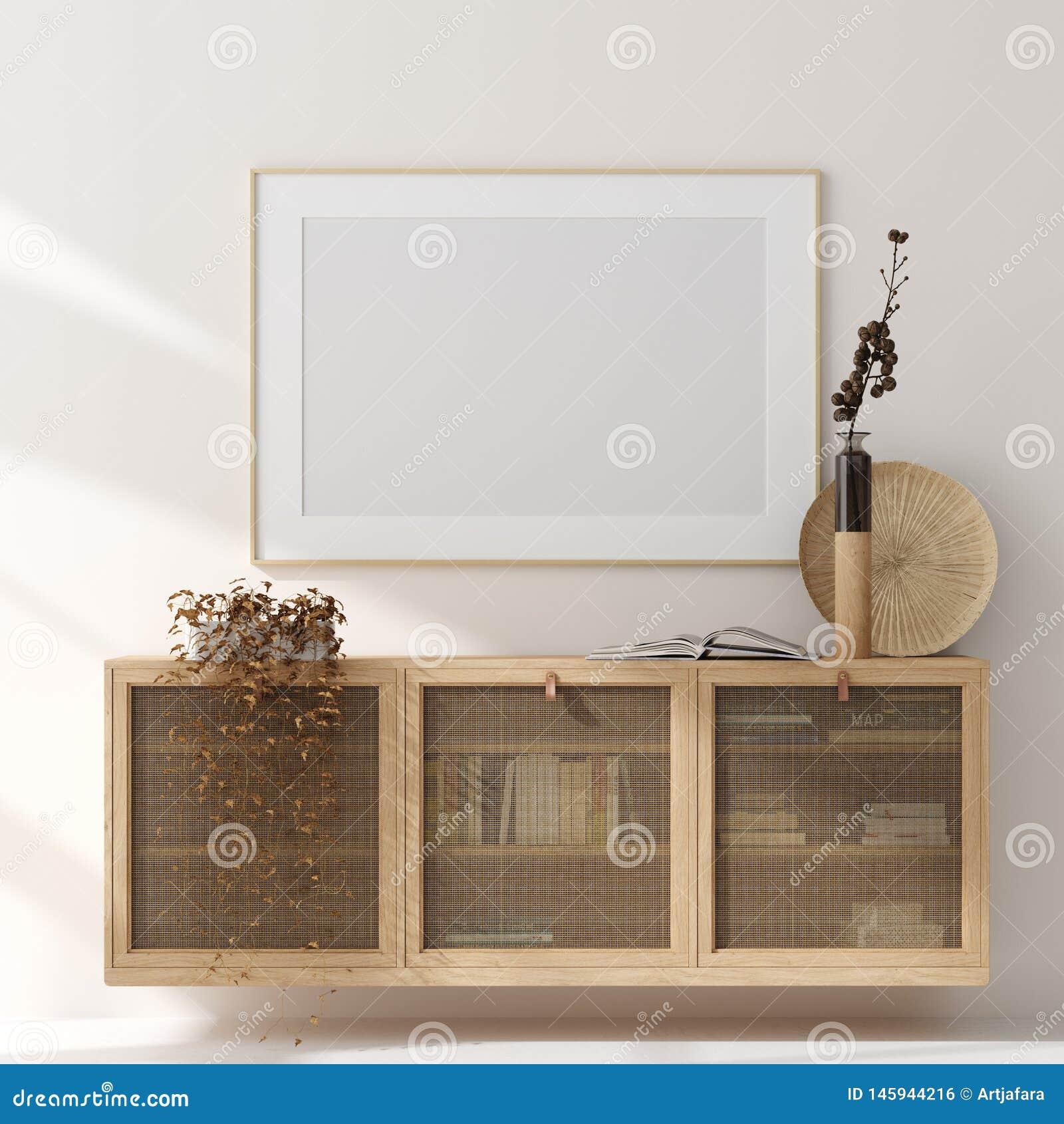 Falsk ?vre ram i hemmilj?bakgrund, beige rum med naturligt tr?m?blemang, skandinavisk stil