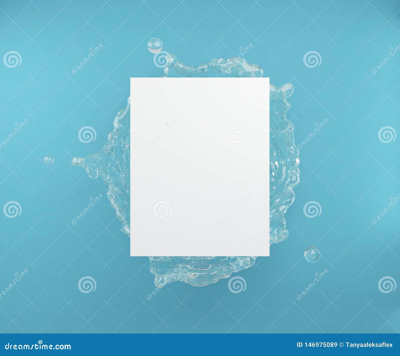 Falskt upp för affisch eller annonsering Ett tomt ark p? bakgrunden av palmblad och bl?a v?ggar framf?rande 3d
