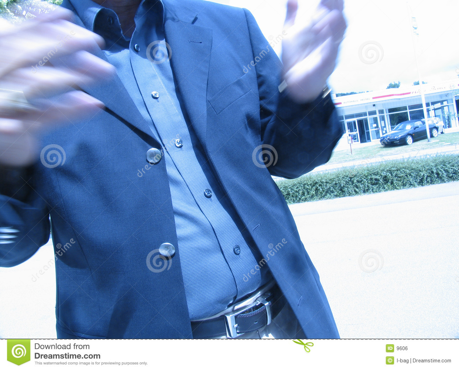 Falta de definición de la charla de las manos del hombre de negocios