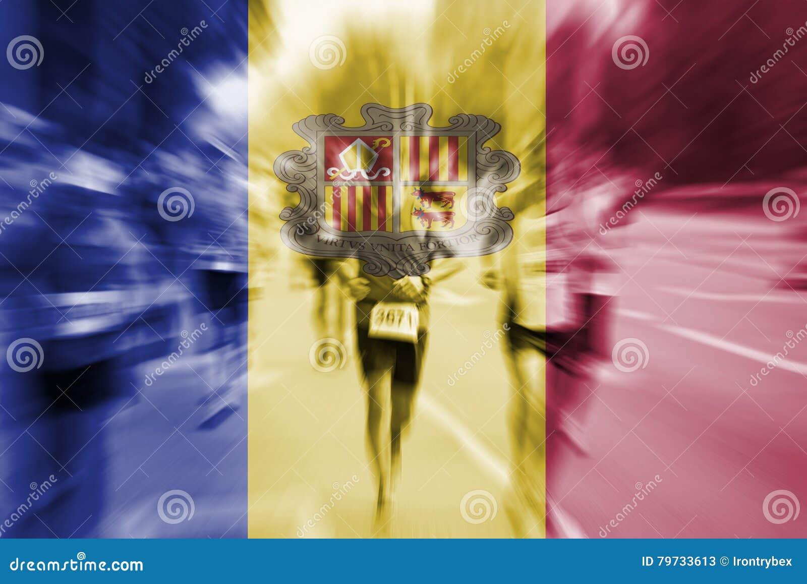 Falta de definición de movimiento del corredor de maratón con la mezcla de la bandera de Andorra