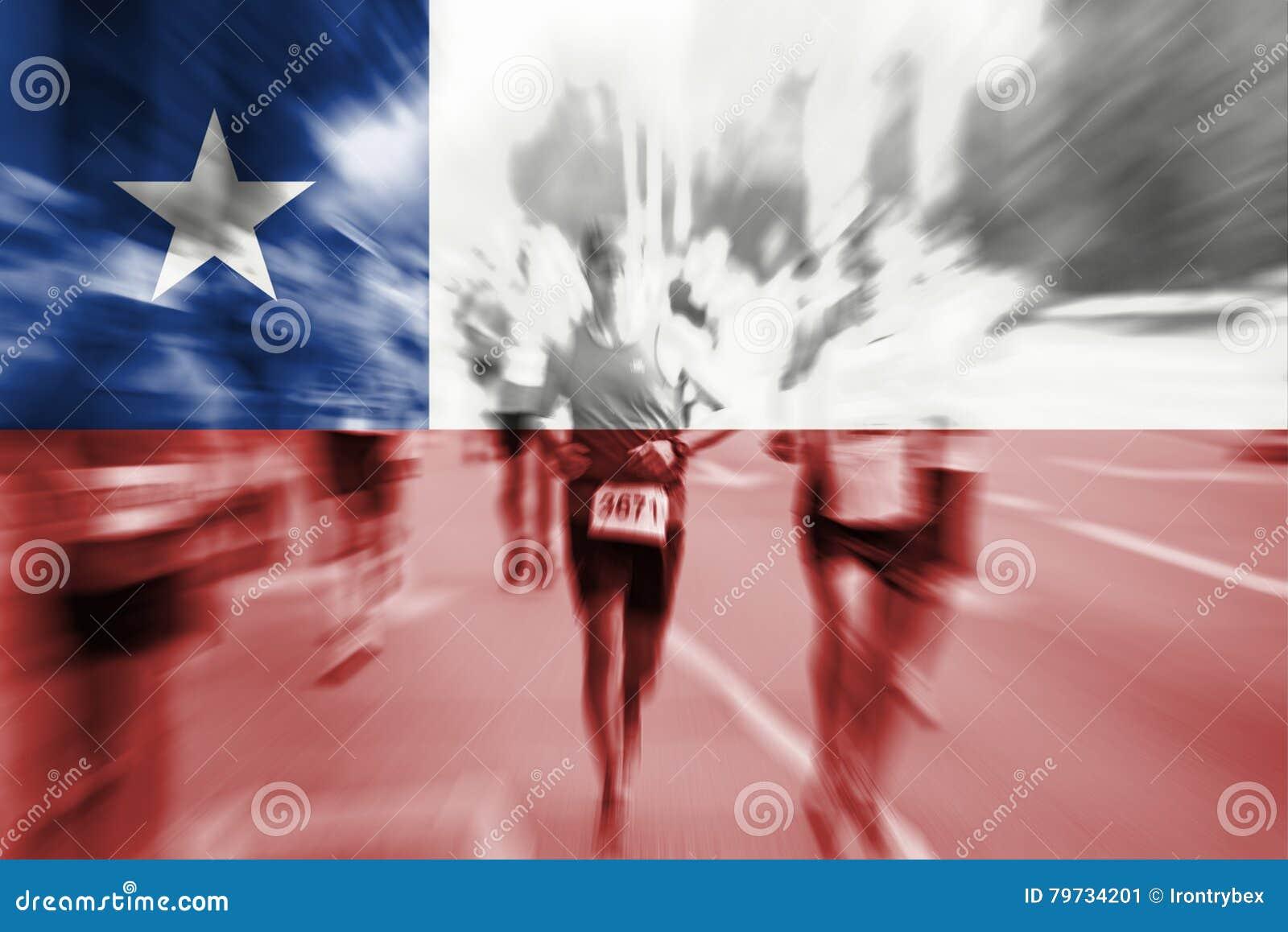 Falta de definición de movimiento del corredor de maratón con la mezcla de la bandera de Chile