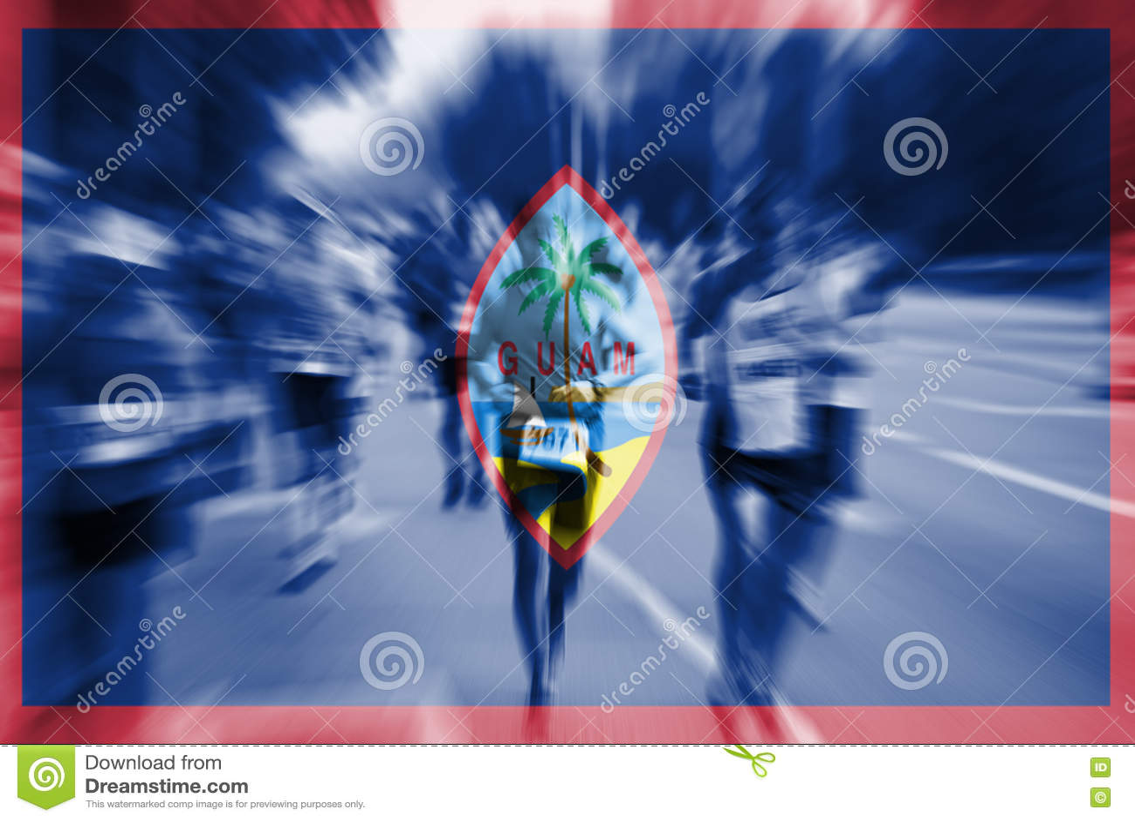 Falta de definición de movimiento del corredor de maratón con la mezcla de la bandera de Guam