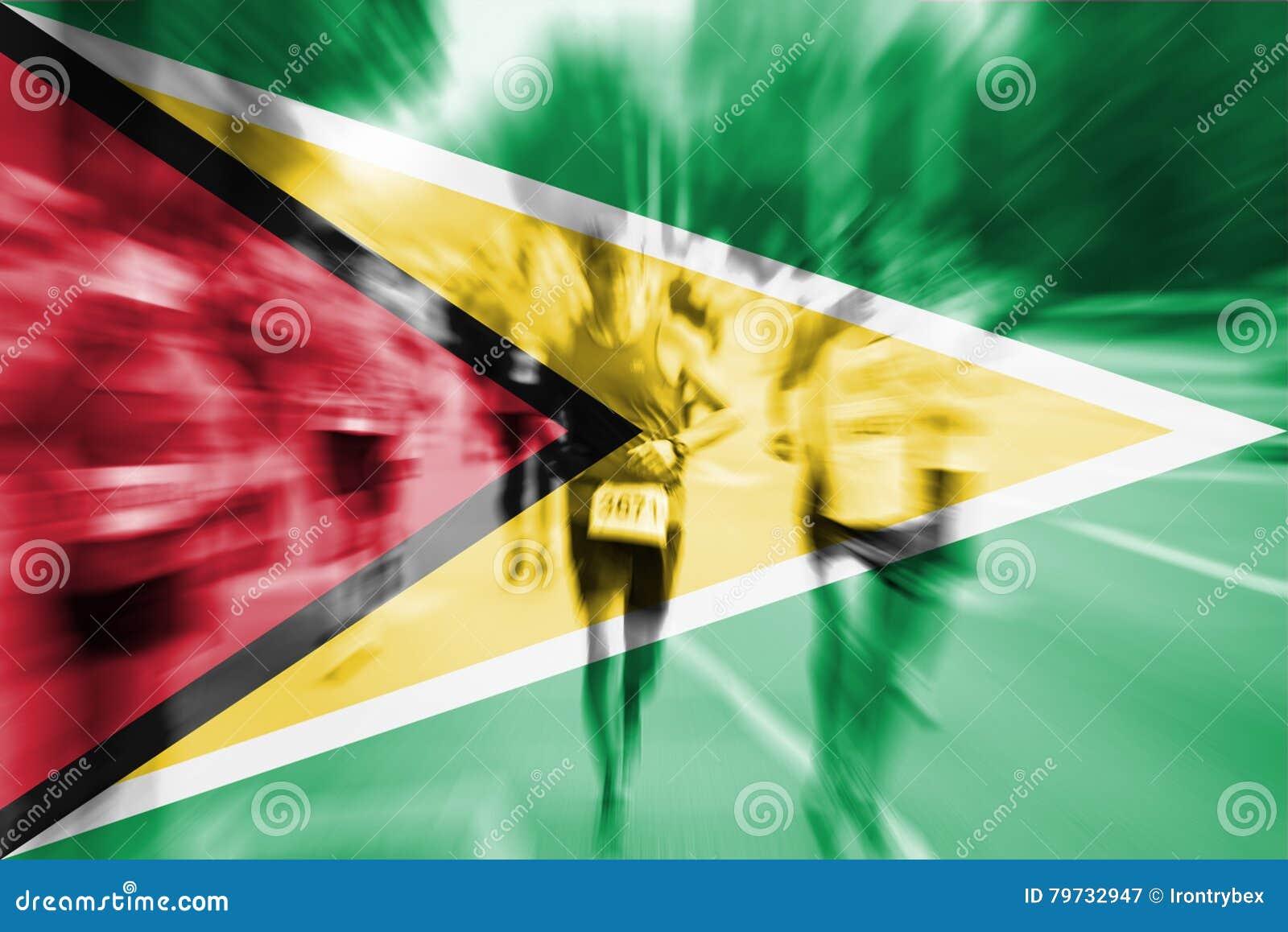 Falta de definición de movimiento del corredor de maratón con la mezcla de la bandera de Guyana