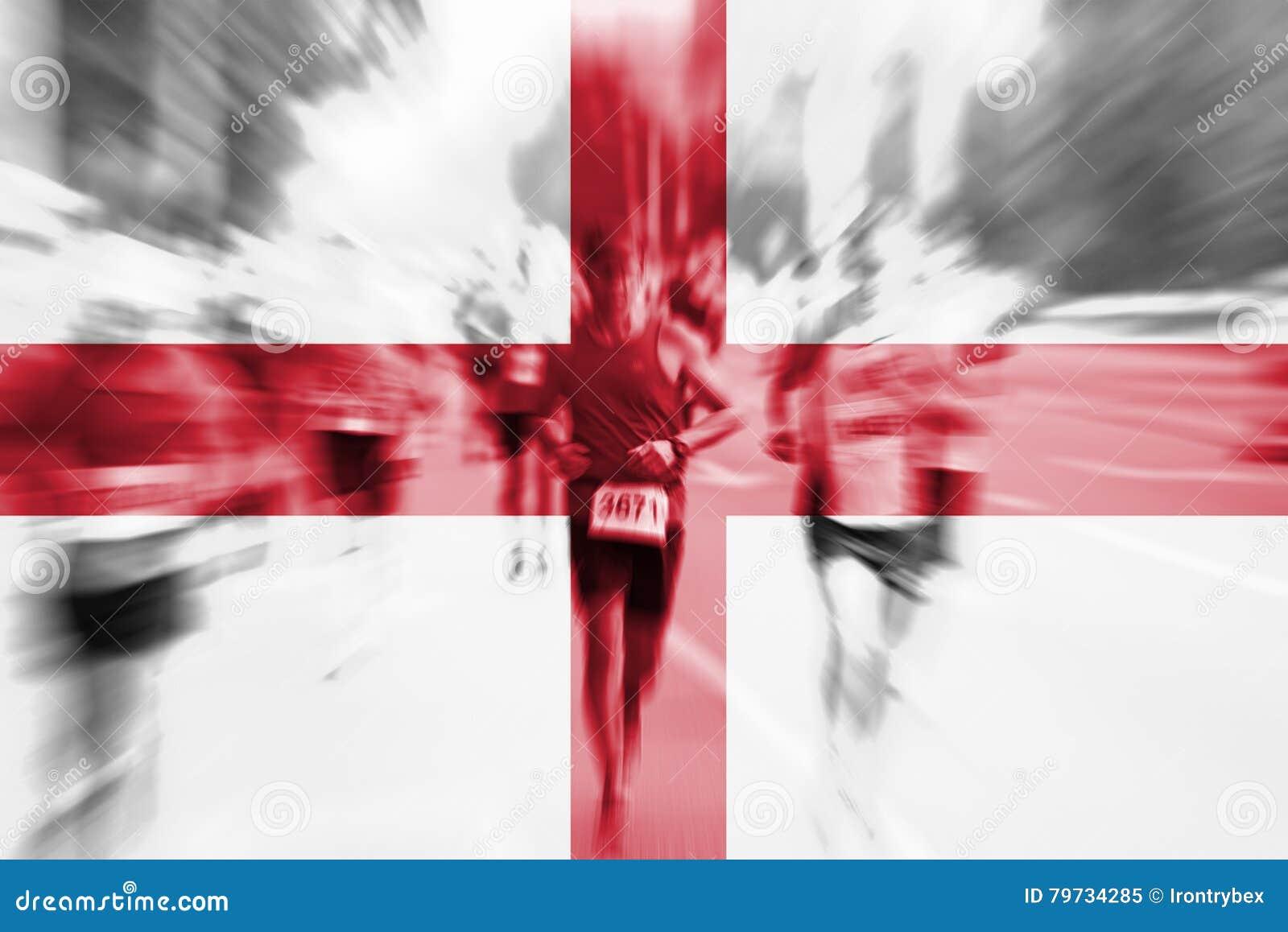 Falta de definición de movimiento del corredor de maratón con la mezcla de la bandera de Inglaterra