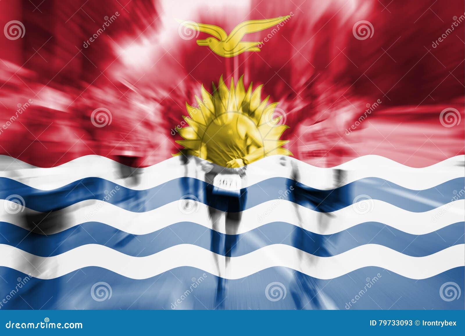 Falta de definición de movimiento del corredor de maratón con la mezcla de la bandera de Kiribati