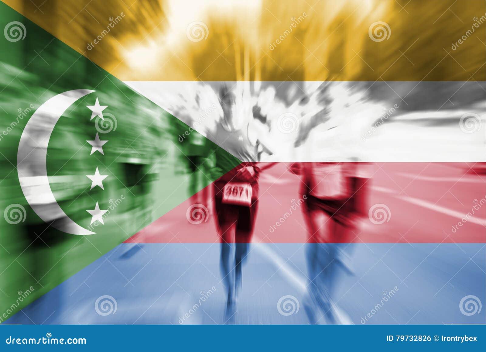 Falta de definición de movimiento del corredor de maratón con la mezcla de la bandera de los Comoro
