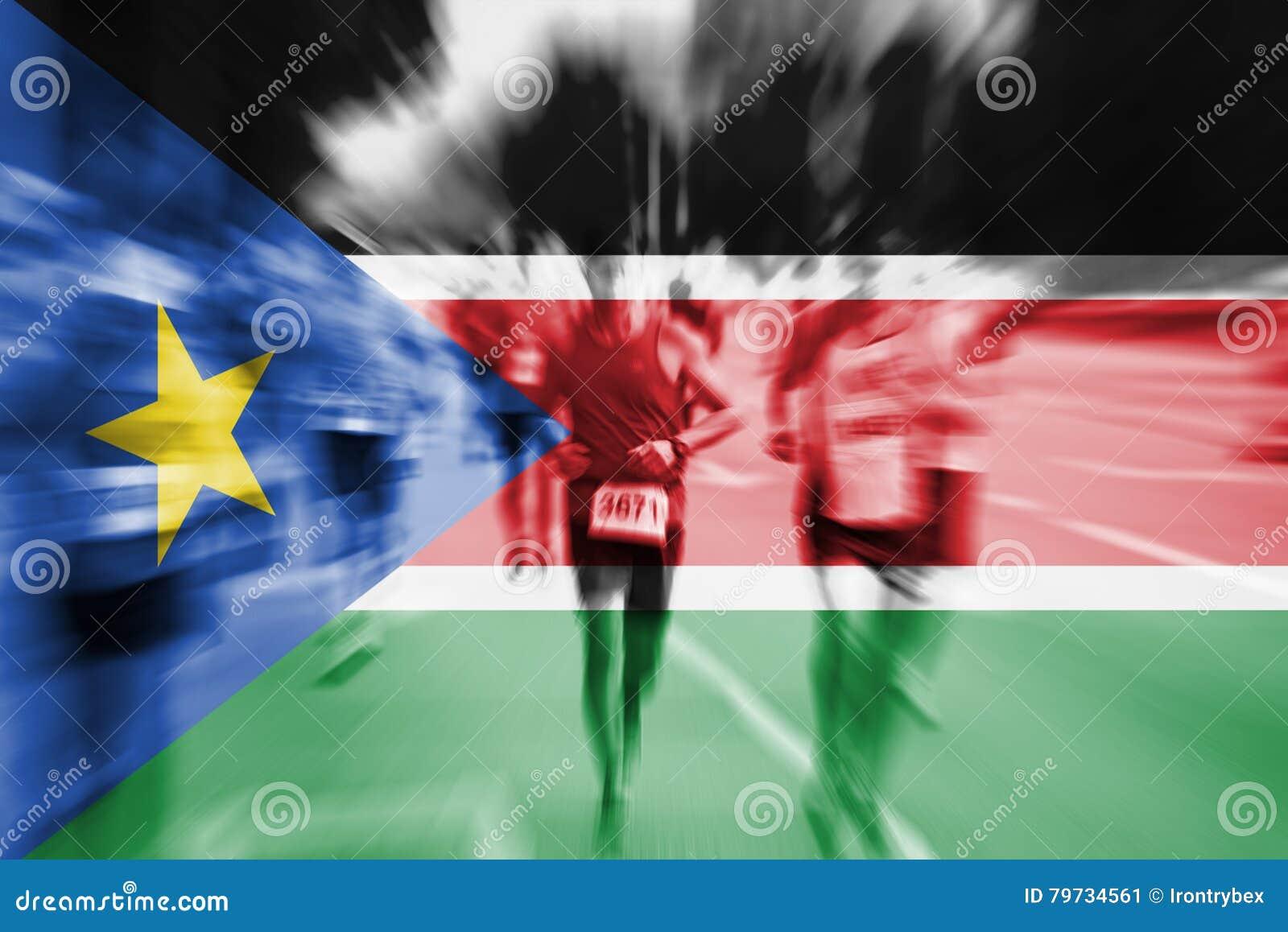 Falta de definición de movimiento del corredor de maratón con la mezcla de la bandera del sur de Sudán