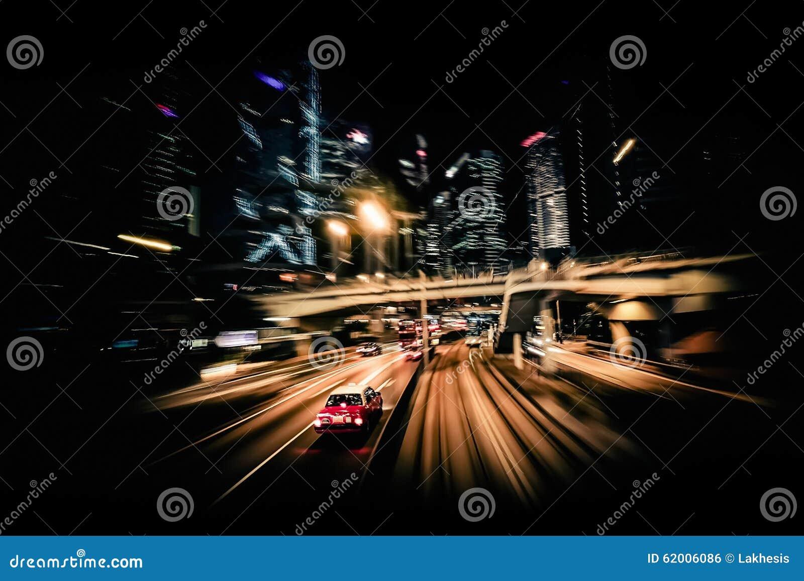 Falta de definición de movimiento moderna de la ciudad Hon Kong Tráfico abstracto b del paisaje urbano