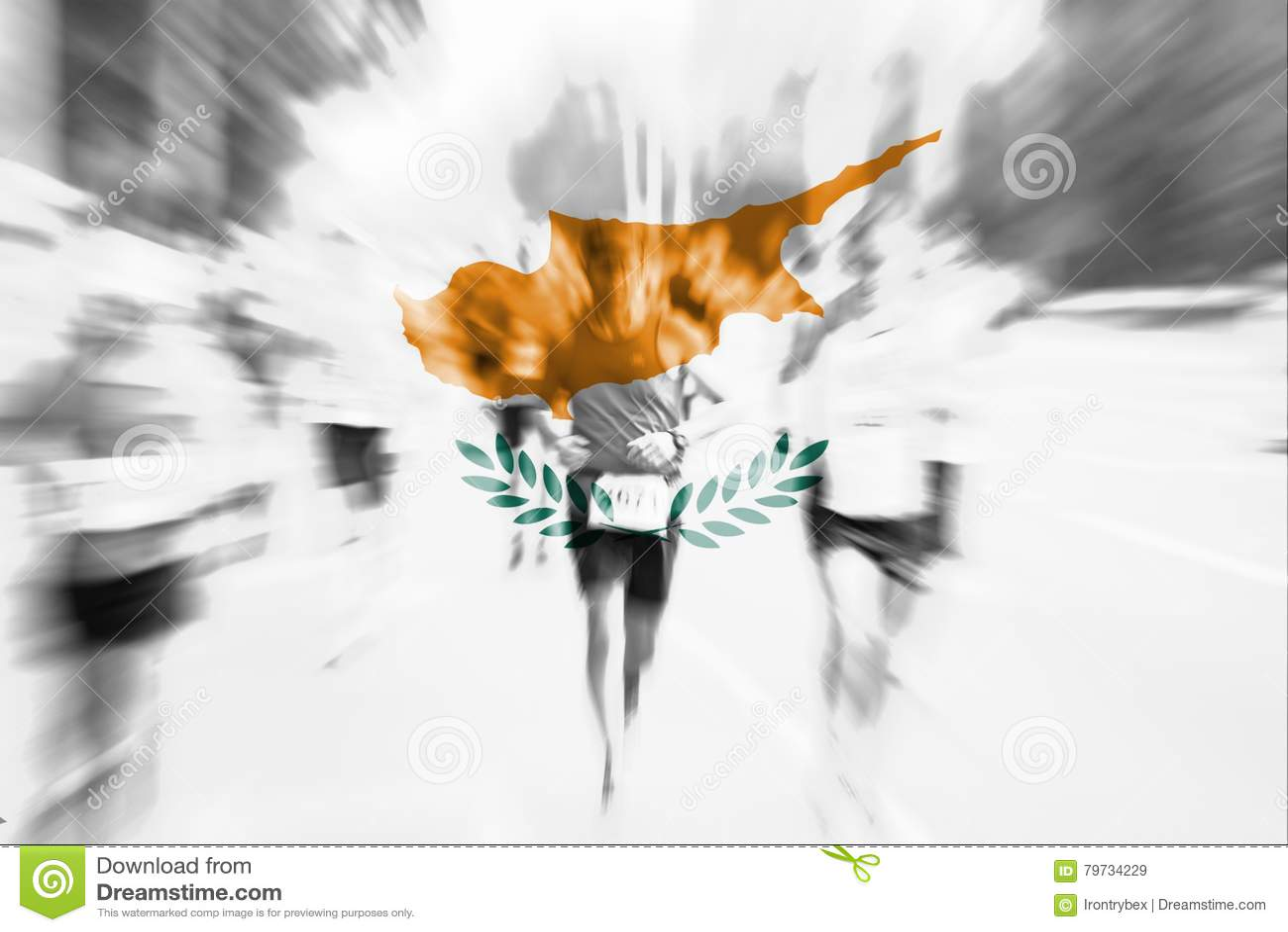 Falta de definición de movimiento del corredor de maratón con la mezcla de la bandera de Chipre